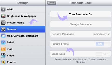 как поставить пароль на фотографии на айпаде